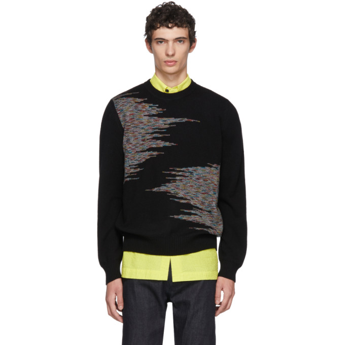 Image of Missoni Black Pattern Crewneck Sweater