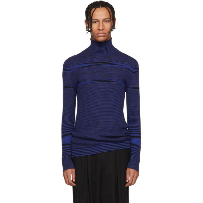 Image of Missoni Blue Striped Mock Neck Sweater