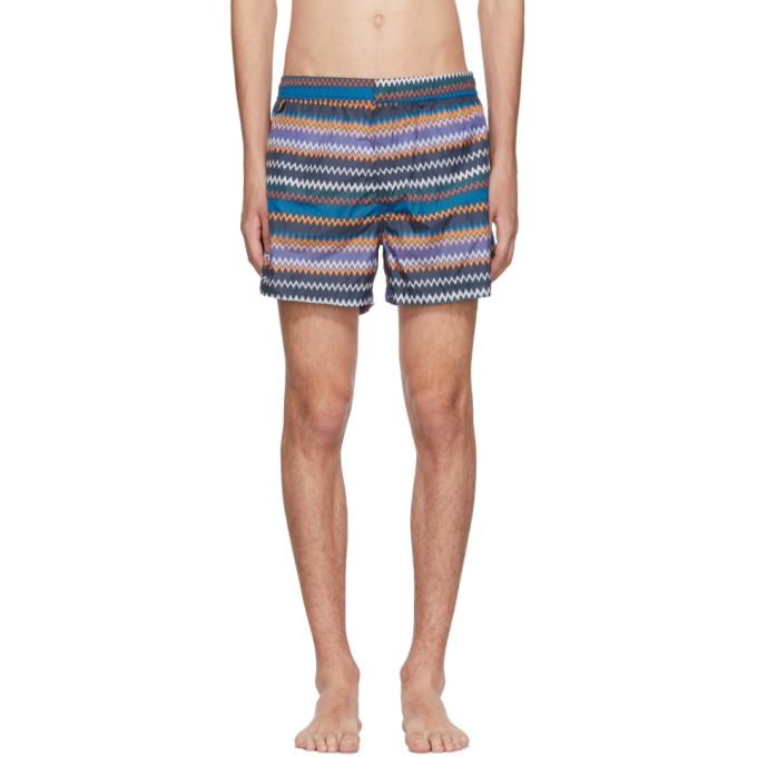 Image of Missoni Blue Zig Zag Swim Shorts