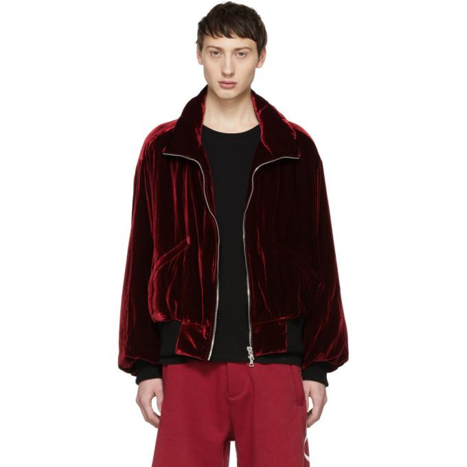 AMIRI Velvet Oversized Puffer Jacket - Md. Red Size Xl