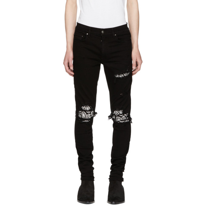 Image of Amiri Black Bandana Crystal Jeans