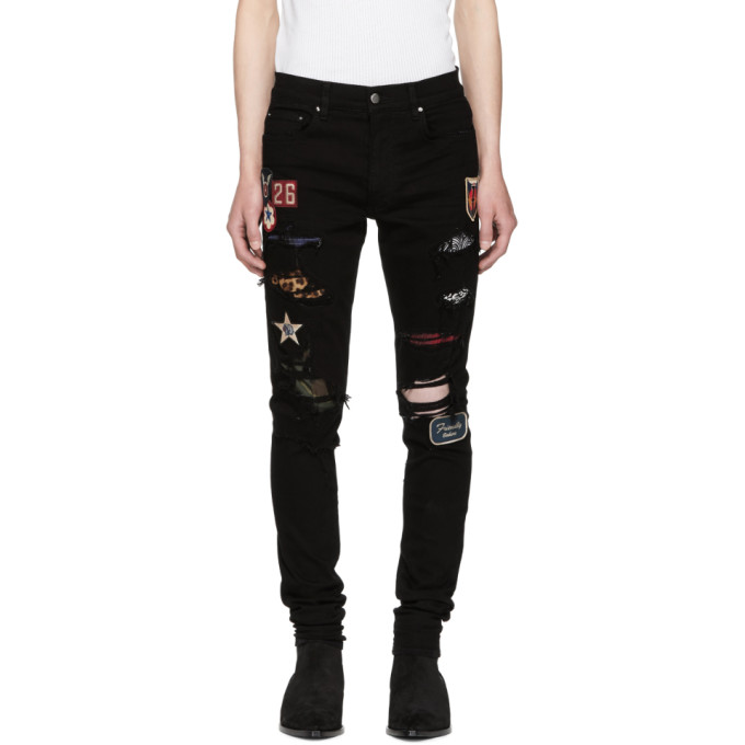 Image of Amiri Black Art Patch Painted Jeans