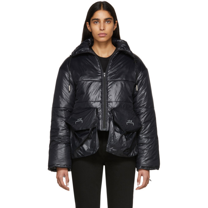 Image of A-Cold-Wall* Black Down Oversized Pockets Puffa Coat