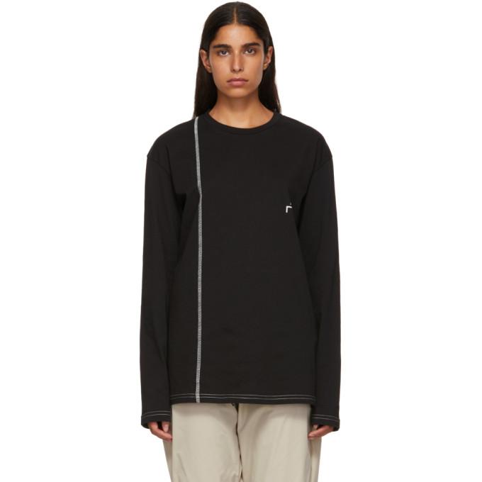 Image of A-Cold-Wall* Black Bracket Logo Cut Line T-Shirt