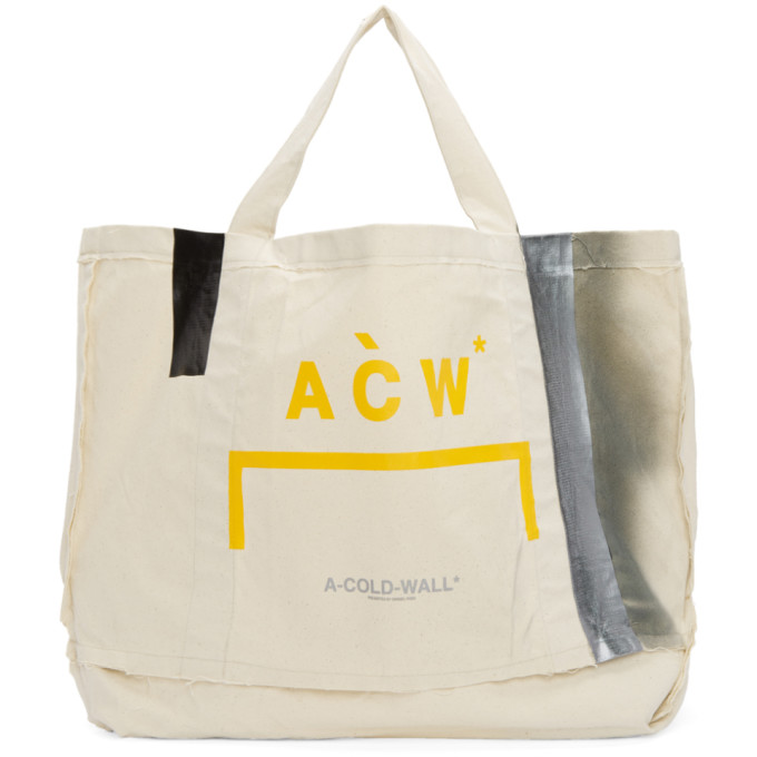 Image of A-Cold-Wall* Beige Plastic Frayed Tote