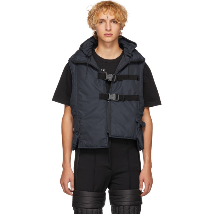 A-COLD-WALL* Hooded Padded Vest in Blue
