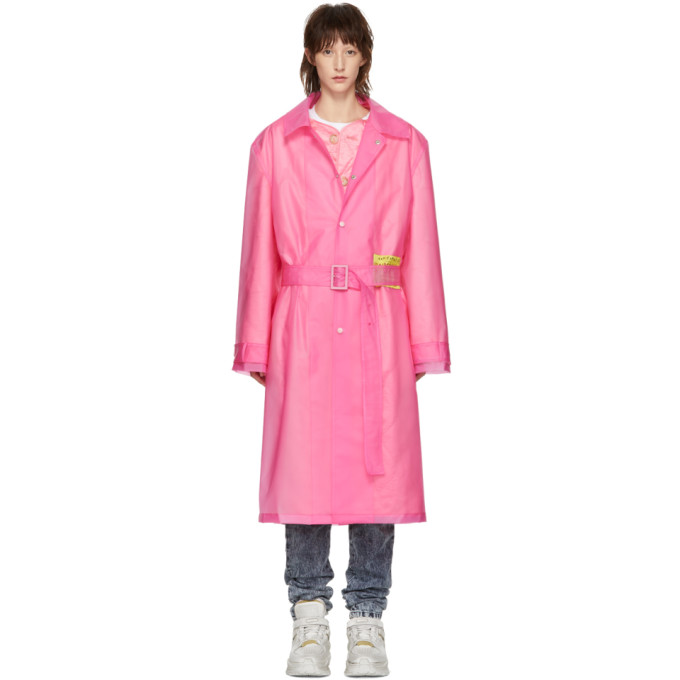 Utopia-Patch Frosted Raincoat in Pink