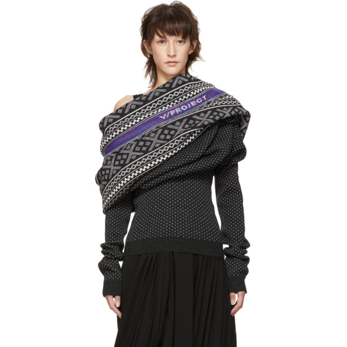 Y/project Y/PROJECT BLACK AND WHITE OFF-THE-SHOULDER SWEATER