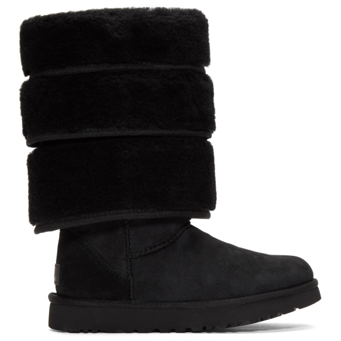 Y/Project Black Uggs Edition Layered Boots