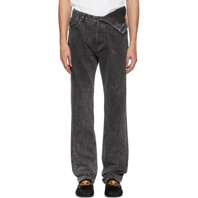 Image of Y/Project Black Asymmetric Hem Jeans
