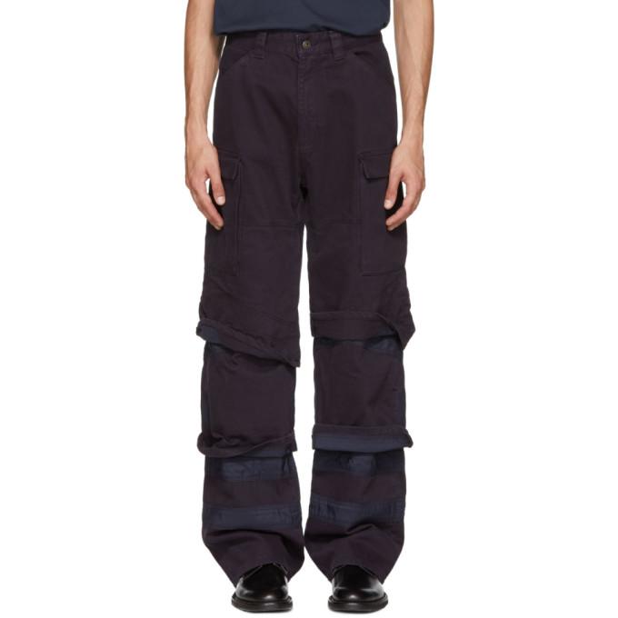 Y/PROJECT Multi Cuff Cotton Gabardine Cargo Pants in Blue