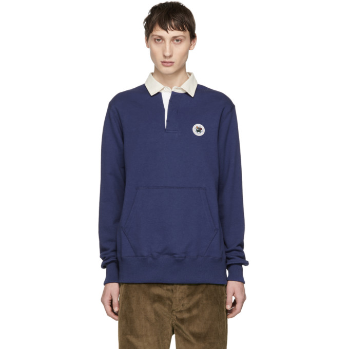 AIMÉ LEON DORE Logo-Appliquéd Twill-Trimmed Loopback Cotton-Jersey Polo Shirt in Navy