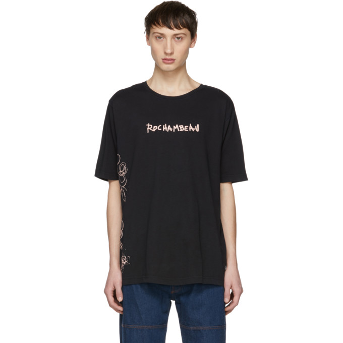 ROCHAMBEAU Rochambeau Black Logo Core T-Shirt in Anthracite