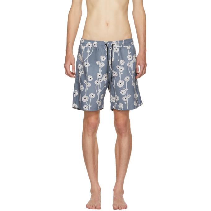 SATURDAYS SURF NYC Saturdays Nyc Blue Timothy Poppy Swim Shorts in S4600 Stblu