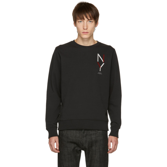 Image of Saturdays NYC Black Bowery 'NY' Crewneck Sweater