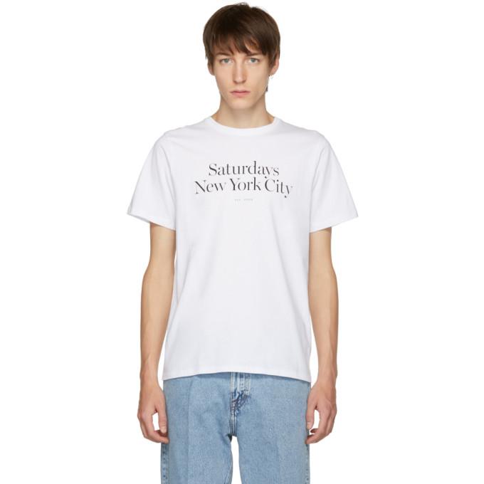 SATURDAYS SURF NYC Saturdays Nyc White Miller Standard T-Shirt in S9900 White