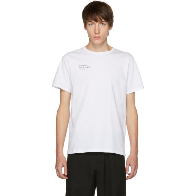 SATURDAYS SURF NYC Rag Logo-Print Cotton Jersey T-Shirt - White Size L in S9900 White