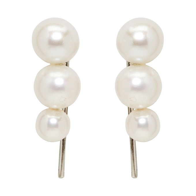 Image of Saskia Diez Silver Triple Pearl Earrings