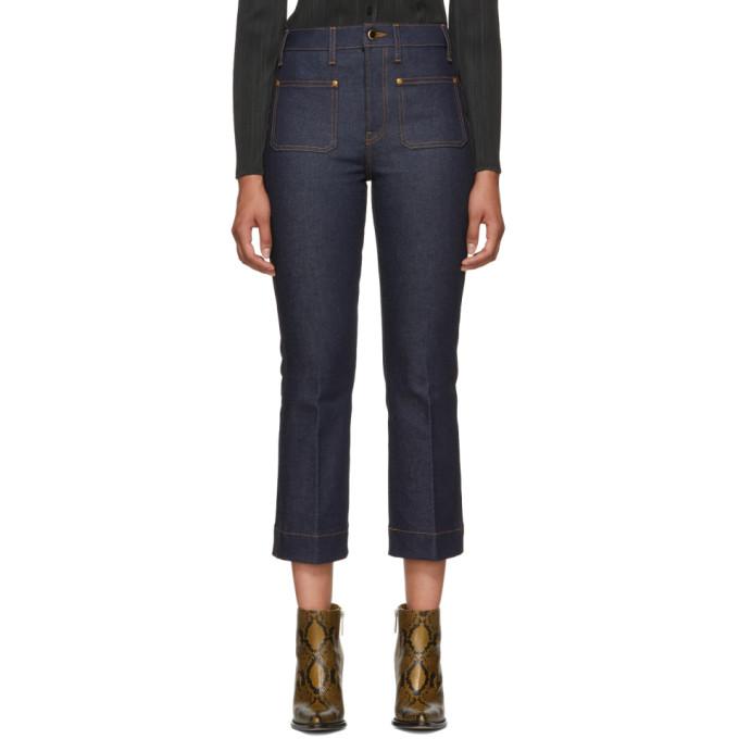 Khaite Blue Raquel Cropped Flare Jeans