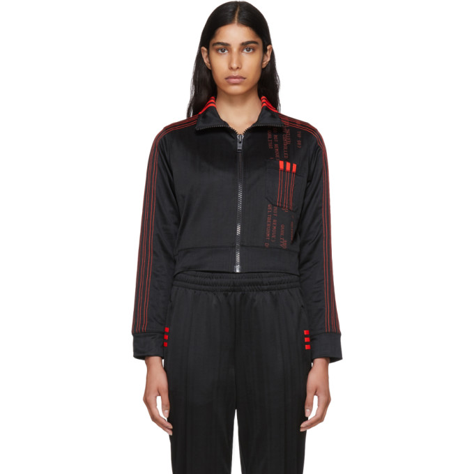 Image of adidas Originals by Alexander Wang Black Crop Track Jacket