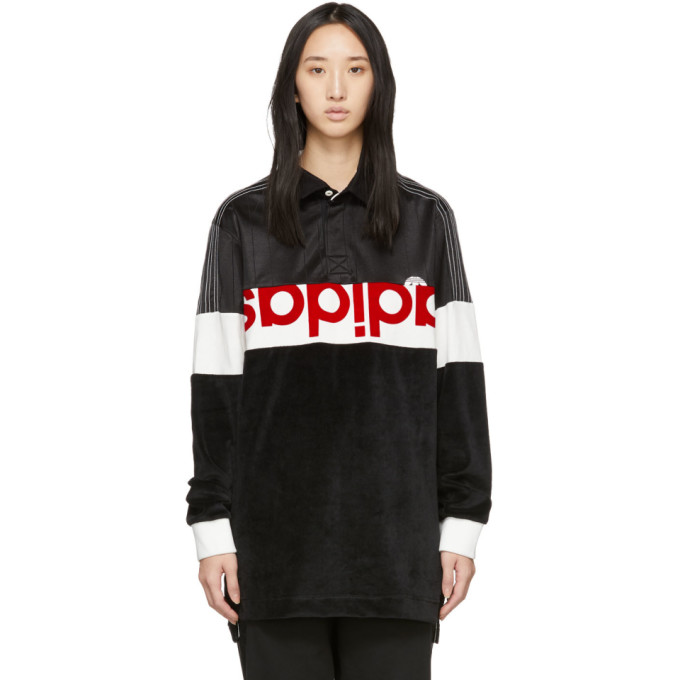 Image of adidas Originals by Alexander Wang Black & White Disjoin Jersey Long Sleeve Polo