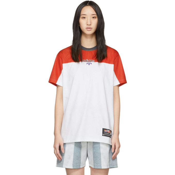 Adidas Originals By Alexander Wang Red And Grey Photocopy T-Shirt in Stbrick/Cle