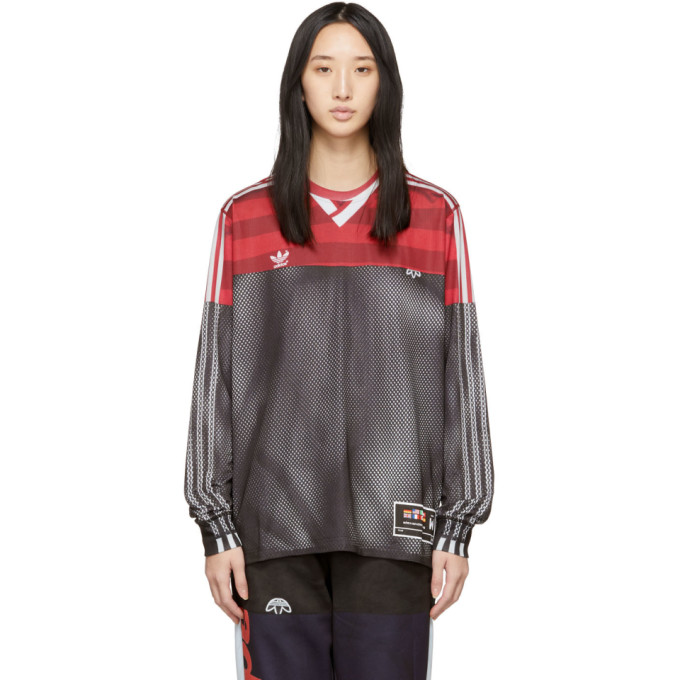 Adidas Originals By Alexander Wang Pink And Black Photocopy Long Sleeve T-Shirt in Black/Foxbr