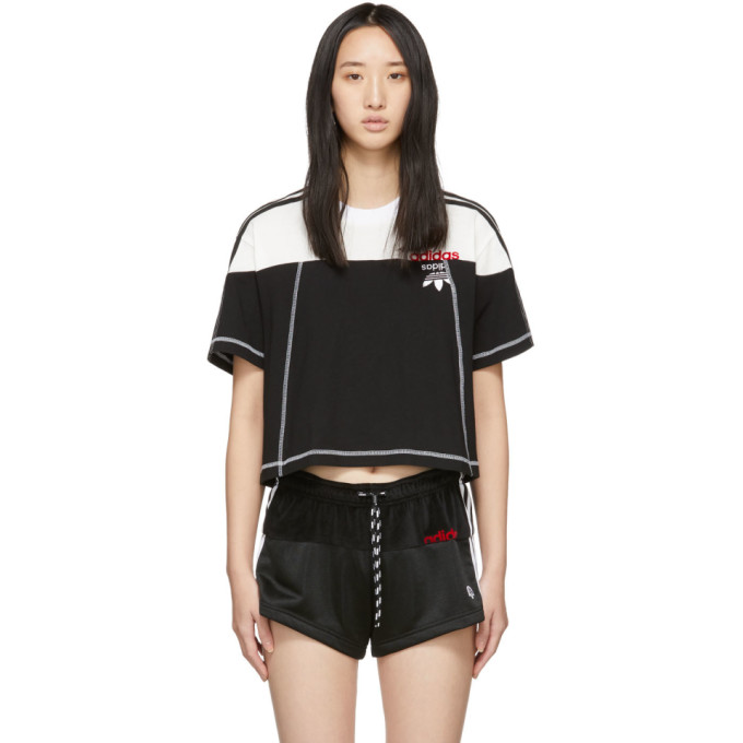 0abdb5767e05 Adidas Originals By Alexander Wang Black   White Cropped Disjoin Jersey T- Shirt In Black