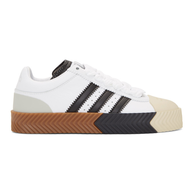 Adidas Originals By Alexander Wang Leathers ADIDAS ORIGINALS BY ALEXANDER WANG WHITE AND BLACK SKATE SUPER SNEAKERS