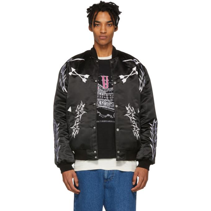 Image of Rhude Black Embroidered Bomber Jacket