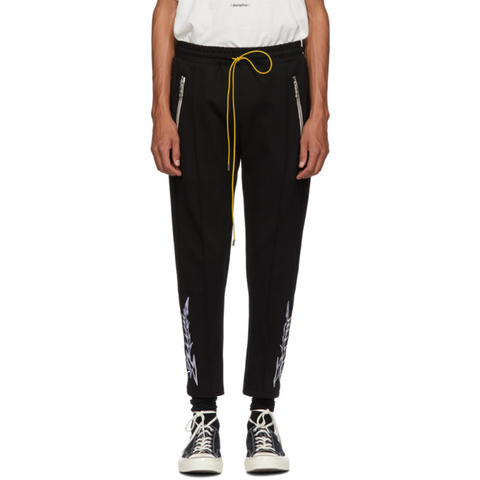 Image of Rhude Black Embroidery Traxedo Trousers