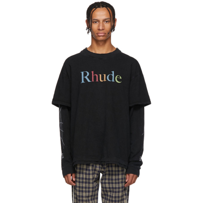 Image of Rhude Black Layered Multicolor Logo T-Shirt