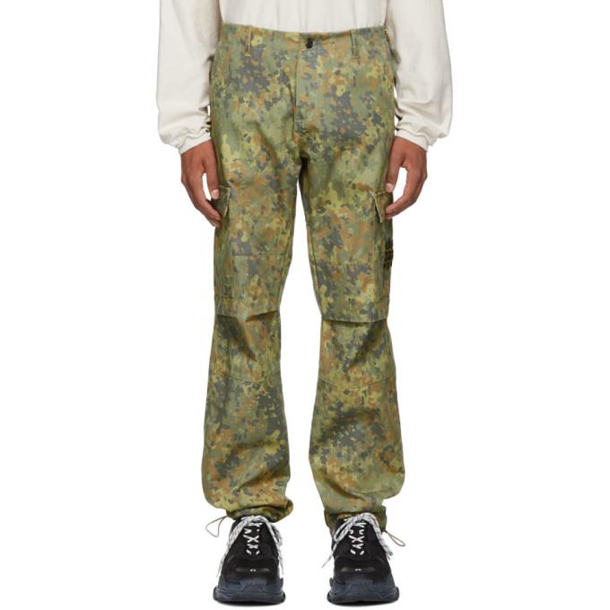 Resort Corps グリーン & ブラウン カモフラージュ Infantry カーゴ パンツ