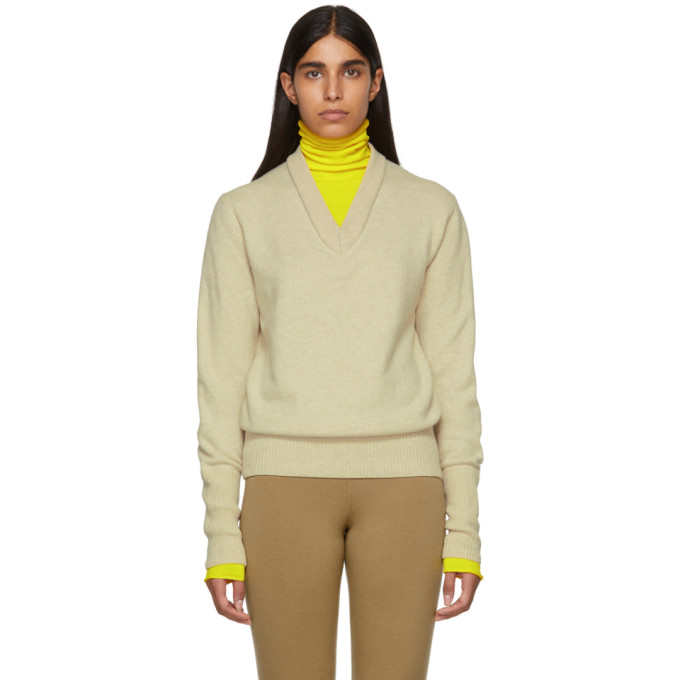 JOSEPH Layered V-Neck And Turtleneck Knit Wool-Blend Jumper in Neutrals