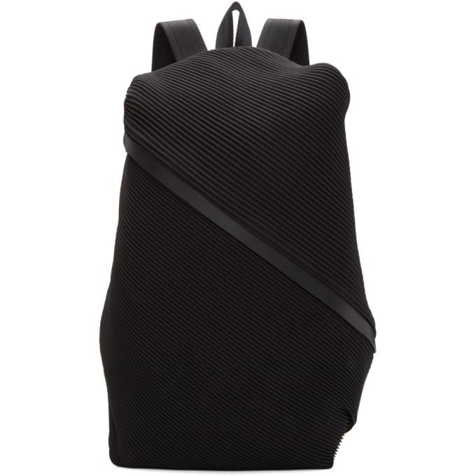 Pleats Please Issey Miyake Black June Bias Pleats Backpack