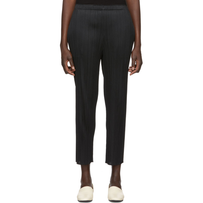 Pleats Please Issey Miyake Black Basics Pleated Skinny Trousers