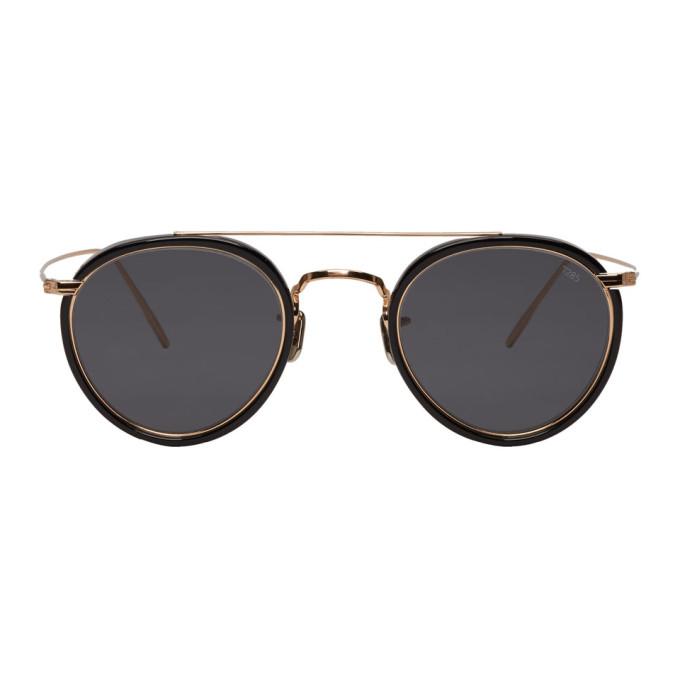 Image of Eyevan 7285 Black & Gold 'Model 762' Sunglasses