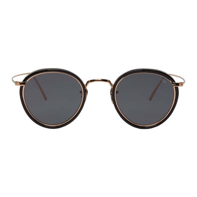 Image of Eyevan 7285 Black & Gold 'Model 717E' Sunglasses