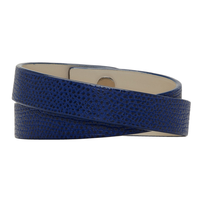 Image of Valextra Blue Leather Double Bracelet