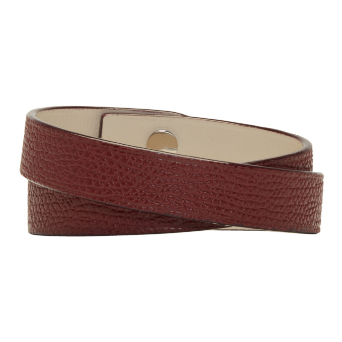 Valextra Burgundy Leather Double Bracelet