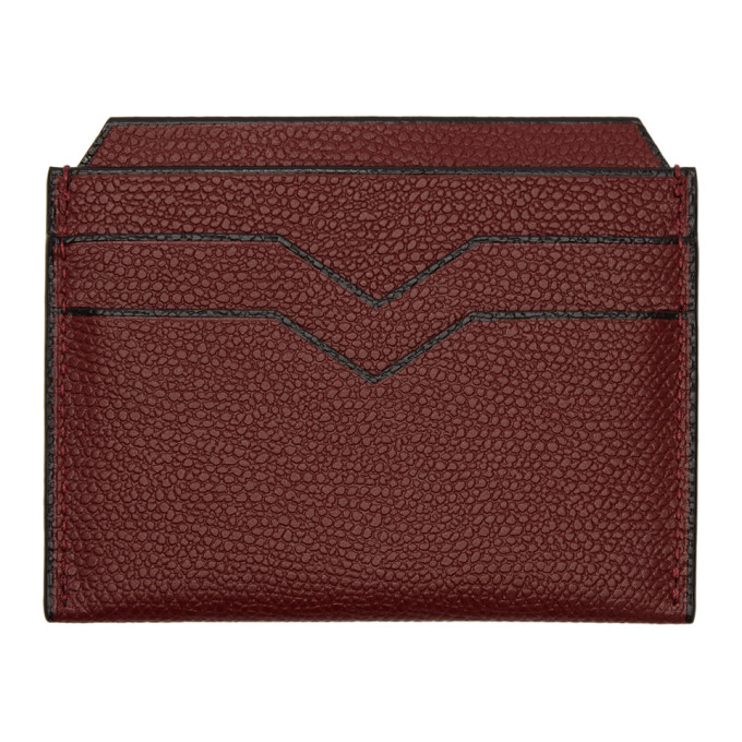 Image of Valextra Burgundy 4CC Card Holder