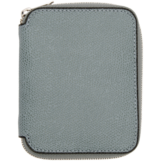 Image of Valextra Blue 6CC Zip Around Wallet
