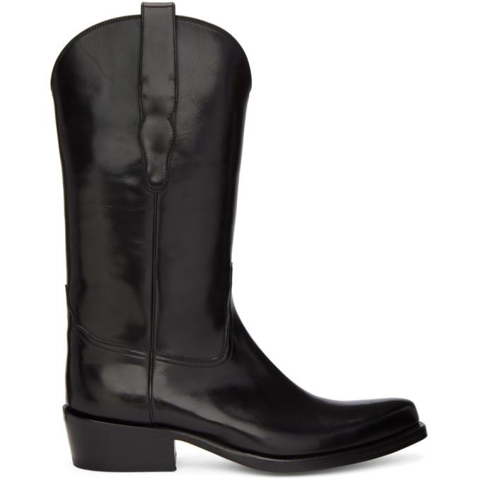 Image of Brioni Black Cowboy Boots