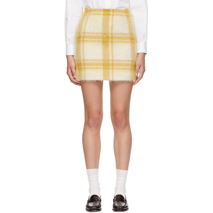 Alexa Chung ALEXACHUNG YELLOW AND WHITE MOHAIR CHECK MINISKIRT