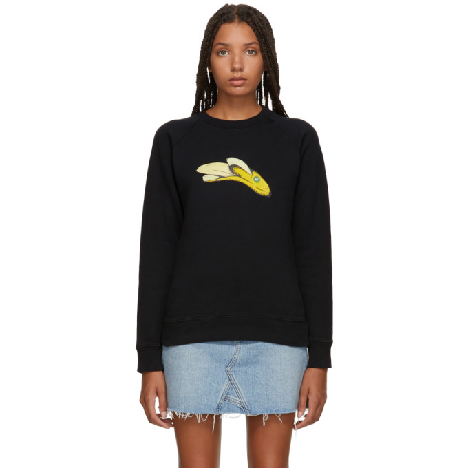 Image of Alexachung Black Banana Print Sweatshirt
