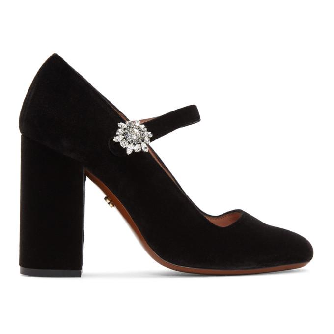 Alexachung Black Velvet Mary-Jane Crystal Flower Heels
