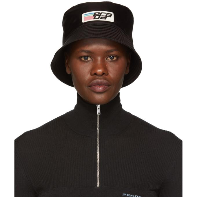 a17456570fda6 Prada Black Nylon Logo Bucket Hat