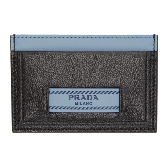 Image of Prada Black & Blue 'Prada Étiquette' Card Holder