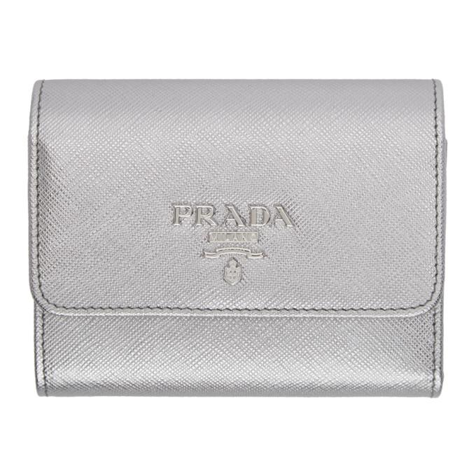 Prada Silver Saffiano Trifold Wallet