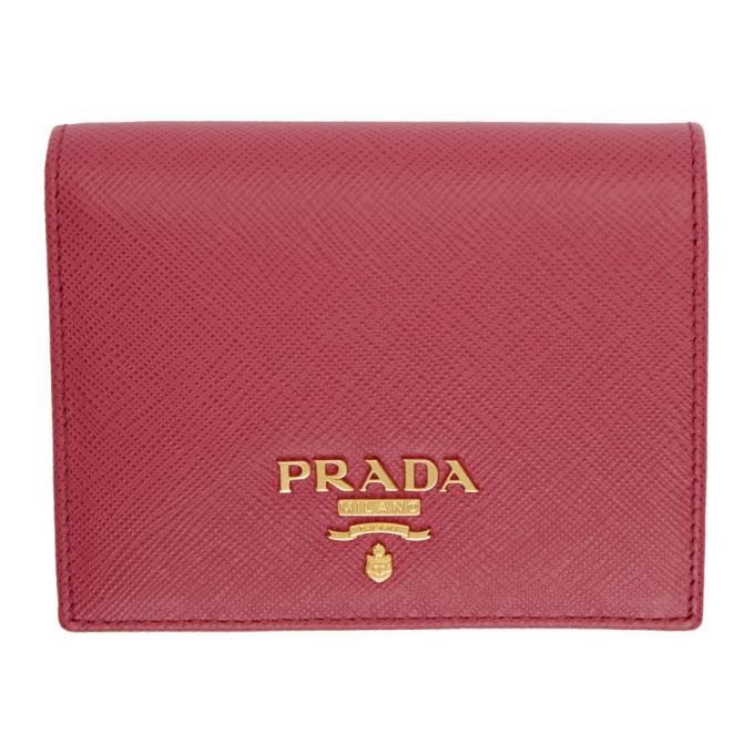 Prada Red Saffiano French Wallet